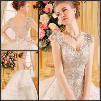 2014 free shipping ultimate luxury crystal wedding dress new arrival straps 2014 train wedding dress princess wedding dress