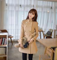 14 trench slim medium-long camel outerwear female high quality woolen overcoat female