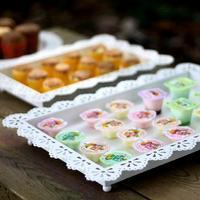 Fashion 3107 tieyi fashion white lace cutout rectangle dessert cake pan sugar biscuits