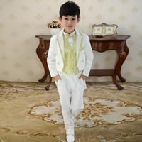 Children's clothing male child set child tuxedo magic piano cool white flower girl western style formal dress