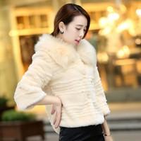 Women coat faux fur coat winter jacket Luxury classic fox fur collar rabbit fur coat 9550