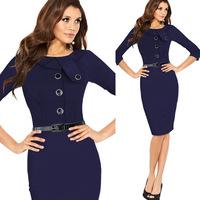 Women spring autumn half sleeve peter pan collar elegant one-piece dress slim plus size clothing XXL