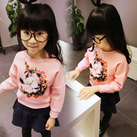 Children's clothing fashion print 2014 space cotton pullover outerwear pink o-neck Girls' sweatshirt