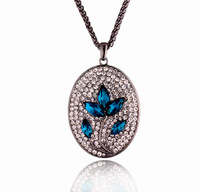 New ! Charm blue crystal flower pendant gold plated long necklace 821 for Fashion Women love gift Free Shipping
