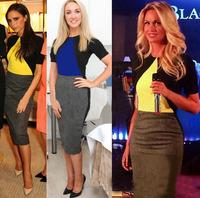 Women fashion one-piece dress fashion patchwork pencil dress star plus size dr for ess