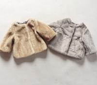 2014 New Arrival Kids Faux fur overcoat tapealoeil girls outerwear Children's Coat  Jacket