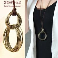 Fashion brief casual leather necklace female fashion vintage retro finishing long design circle necklace