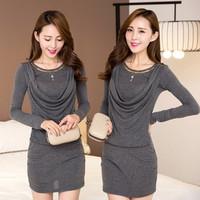 2014 autumn and winter one-piece dress female long-sleeve plus size slim rt skistep basic  elegant one-piece dress
