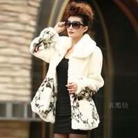 Winter women's 2014 fur coat medium-long white mink fur overcoat sweet