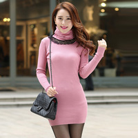 4507 2014 autumn long-sleeve slim elastic muffler scarf one-piece dress medium-long sweater basic sweater