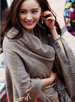Fashion plaid tassel faux wool scarf autumn and winter wool thermal cape