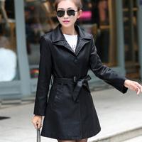 Autumn jacket windbreaker 2014 new long leather large size women add fertilizer
