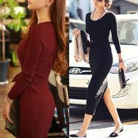 Hot New 2014 Plus Size Midi Dress Business Women Work Wear Autumn Dress Winter Party Evening Bodycon Pencil Formal Dresses