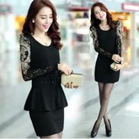 Plus size women autumn and winter ol slim basic  lace long-sleeve slim hip one-piece dress female fwqfqdfq