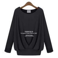 2014 autumn clothing plus size women elastic pleated elegant long sleeve o-neck t-shirt large size lady shirts women's clothing