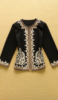 2014 Women's Runway Fashion Luxury Baroque Style Cotton Jacket Gold Embroidery Three Quarter Sleeves Vintage Coat