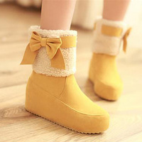 Winter women's shoes sweet wedge boots snow boots  bow fur boots female