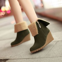 Autumn and winter women's shoes boots wedges high-heeled short boots turn-down collar two ways boots fashion martin boots female