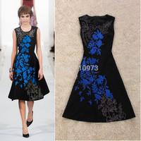 2014 Runway Dress Women's High Quality Dresses Fashion Black Embroidered Slim Tank Vintage Dress Free Shipping Express Clothing