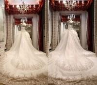Wedding dress 2014 luxury sparkling crystal double-shoulder spaghetti strap luxury train tube top bandage wedding dress