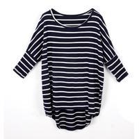 Fashion women's T-shirt long-sleeve shirt batwing sleeve loose stripe t-shirt female long-sleeve modal long design plus size top