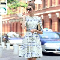 Prase women's 2014 autumn star tapestry elegant autumn plaid one-piece dress