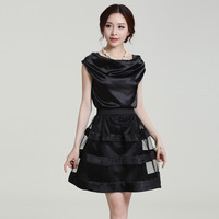FREE SHIPPING  summer 2014 women's plus size silk one-piece dress