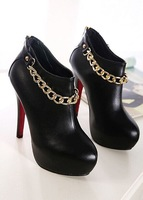 Fashion 13cm high heels women boots with ornament chain by factory pu leather shoes woman EU size 35-39
