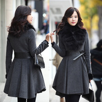 Fox fur cashmere overcoat 2014 autumn and winter female high quality ultra long paragraph woolen outerwear
