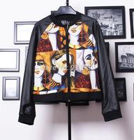 free shipping 2014 new arrival Fashion street print pattern patchwork pu leather baseball coat  thin female jacket