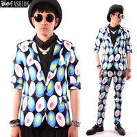 New Style Dream blue dot Male half sleeve slim suit fashion men's clothing costume
