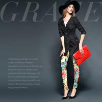 Fashion fashion daisy print slim pencil pants