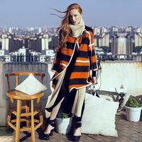 2014 Autumn women's fashion color Big stripe knitted woolen outerwear  Asymmetric Length for women