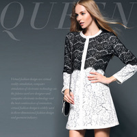 Fashion classic fashion lace print two-piece slim overcoat