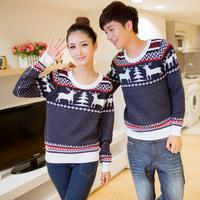 603 onta pattern sweater lovers o-neck long-sleeve sweater female sweater male