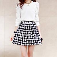 2014 Puff Sleeve Top Houndstooth Short Skirt Long-sleeve Dress  Twinset Female