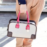 2014 women's handbag fashion vintage bucket handbag color block formal handbag shoulder bag messenger bag female