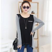 Free shipping Women's autumn plus size loose basic shirt long-sleeve top medium-long casual fashion t-shirt