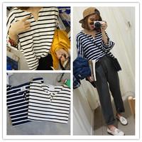 Hot sale Women's top long-sleeve pullover stripe sweatshirt female 2014 all-match loose patchwork shirt cotton t-shirts
