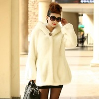 2014 White faux overcoat long-sleeve medium-long imitation mink fur coat marten velvet