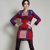 2014 autumn and winter women o-neck long-sleeve stripe one-piece dress slim basic skirt short skirt