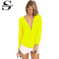 308 autumn female top neon yellow V-neck long-sleeve zipper chiffon top