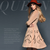 Fashion high quality handmade vintage cutout carved slim double breasted overcoat