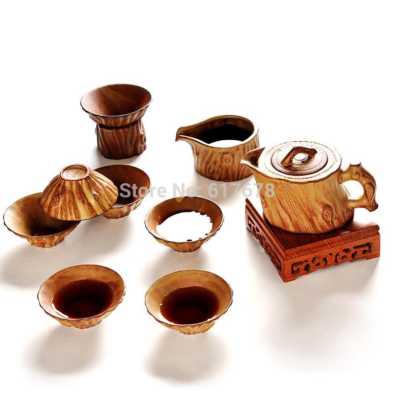 Stump tea set Stairwells set haplostele coarse ceramic tea pot cup set kung fu tea Native stoneware Kung fu tea set(China (Mainland))