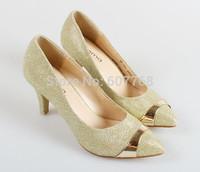 FREESHIPPING Fashion British Style 2014 Women's Paillette Metal Gentlewomen Shoes High-heeled shoes women's B-P-6716