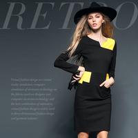Square patchwork fashion brief color block slim one-piece dress