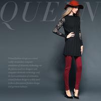 Fashion fashion net colored corduroy patchwork slim pencil pants