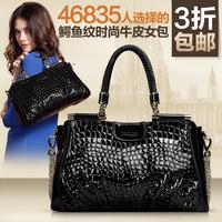 Bags 2014 women's handbag for Crocodile women's genuine leather handbag first layer of cowhide messenger bag genuine leather