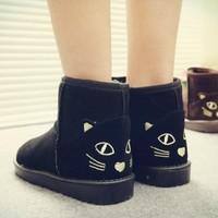 2014 winter fashion comfortable flat heel thick snow boots cartoon cat footwear boots