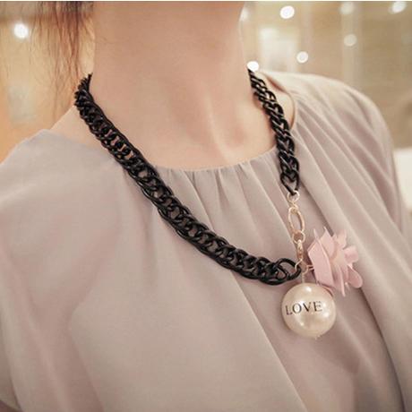 frete grátis actuar o papel ofing é provado, o sul-coreano flores curto colar de pérolas pingente, corrente camisola(China (Mainland))
